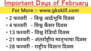Important Days of February Month