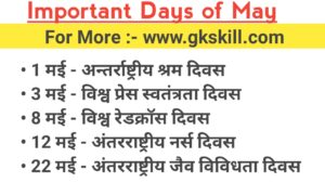 Important Days of May Month