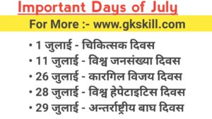 Important Days of July Month