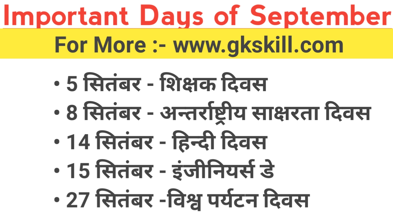 Important Days of September Month