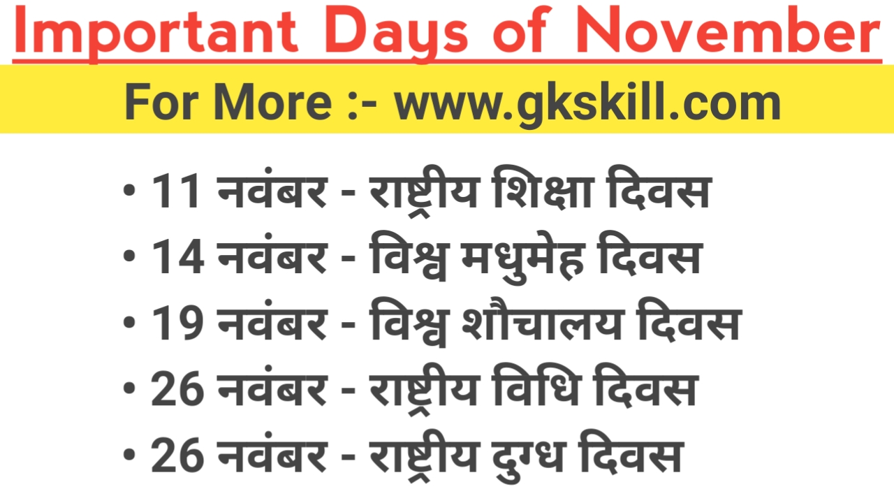 Important Days of November Month